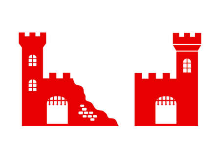 Castle ruins icon on white background