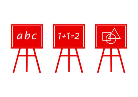 Red blackboard icons on white background Vector