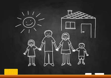 blackboard: Family drawing on blackboard Illustration
