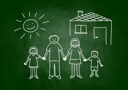 Family drawing on blackboard Vector