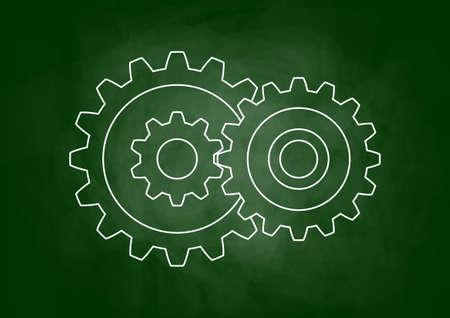 industrial drawing: Industrial drawing on blackboard