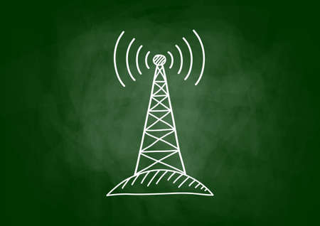 transmitter: Drawing of transmitter on blackboard Illustration