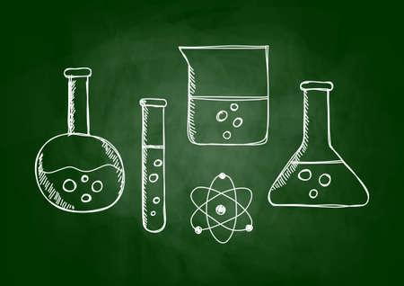laboratory glass: Drawing of laboratory glass on blackboard