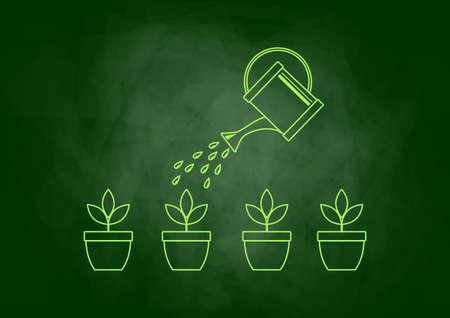 wateringcan: Drawing of plants on blackboard