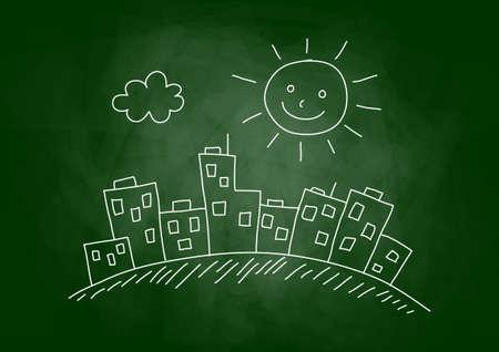 architectural studies: City drawing on blackboard Illustration