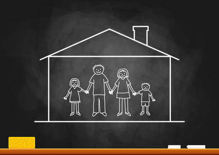dirty house: Family drawing on blackboard Illustration