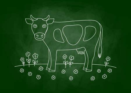 flowered: Drawing of cow on blackboard