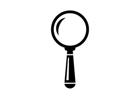 Black magnifier icon on white background