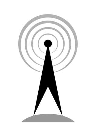 communications tower: Black transmitter icon on white background