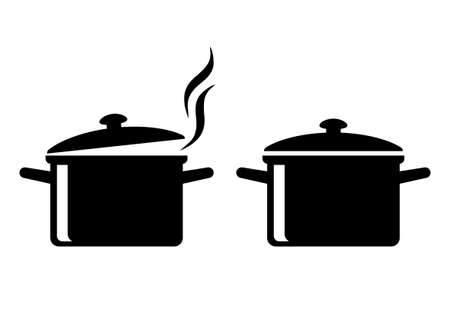 Black cooker icons on white background