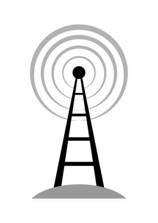 radio mast: Black transmitter icon on white background