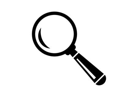 magnification icon: Black magnifier icon on white background