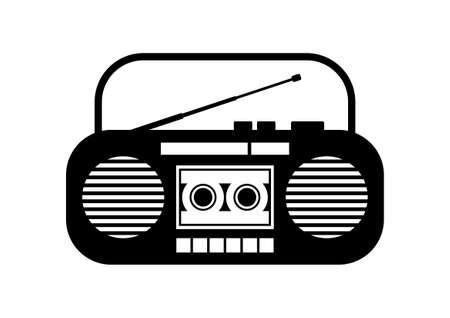 portable audio: Radio cassette player on white background