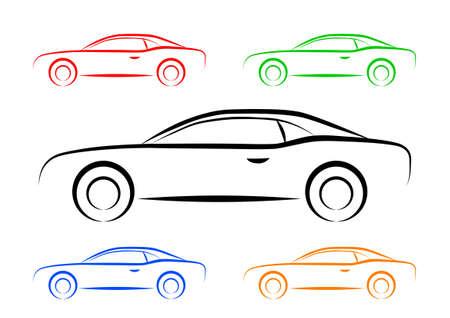 Auto-Skizze auf weißem Hintergrund
