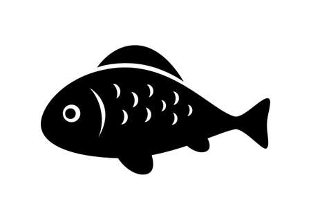 black fish: Black fish icon on white background Illustration
