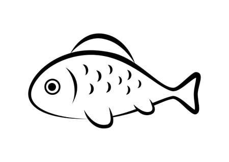 black fish: Black fish icon on white background Illustration