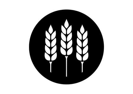 crop circle: Black and white cereal icon on white background Illustration