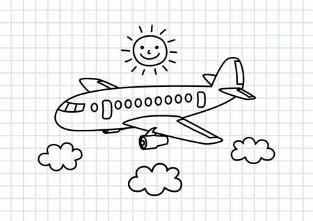 Vliegtuigen tekening op ruitjespapier