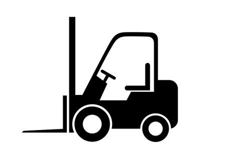 Black forklift truck on white background Vectores