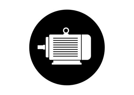 electrical equipment: Black and white electric motor icon on white background