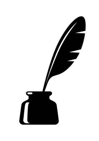 Quill in inkwell on white background Illustration