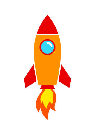 on white background: Rocket icon on white background