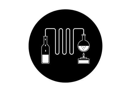 destilacion: Kit de destilaci�n en blanco y negro sobre fondo blanco