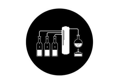 destilacion: Kit de destilación en blanco y negro sobre fondo blanco
