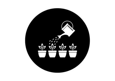 wateringcan: Watering can with plants Illustration