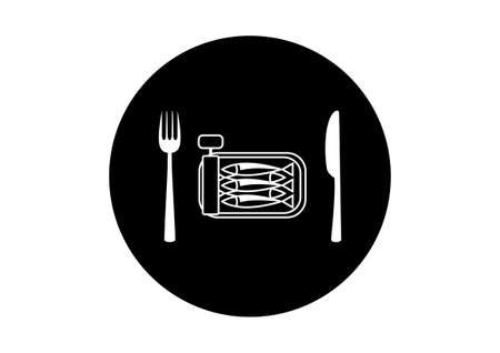conserved: Black and white sardines icon on white background