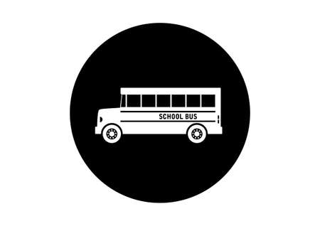 excursion: Black and white school bus icon on white background