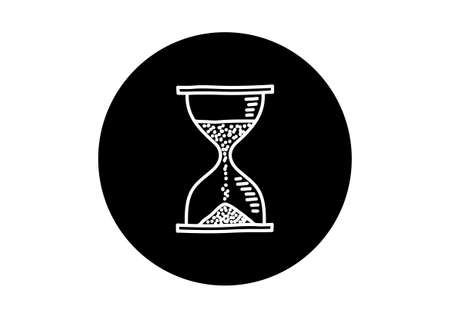 timepieces: Black and white hourglass icon on white background