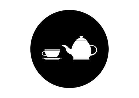 white tea: Black and white tea icon on white background