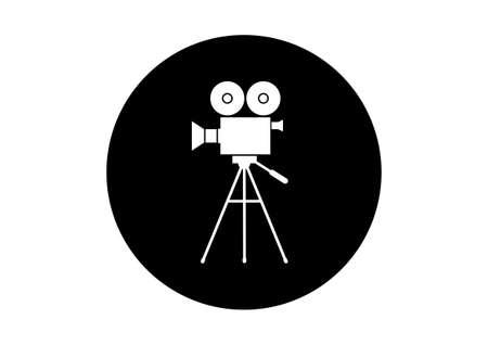 Black and white movie camera icon on white background