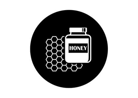 sweetener: Black and white honey icon on white background