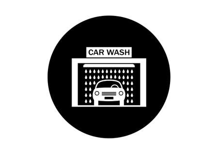 auto washing: Black and white car wash icon on white background