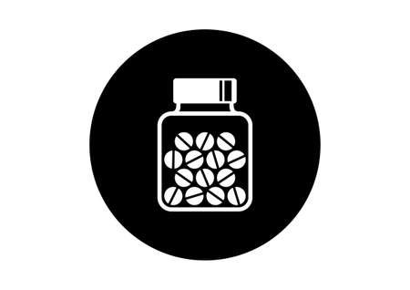 fiole: Black and white medicine icon on white background