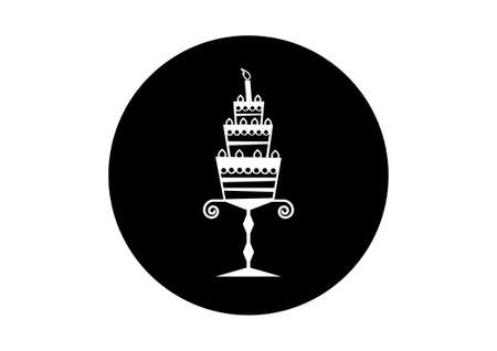 cake background: Black and white cake icon on white background