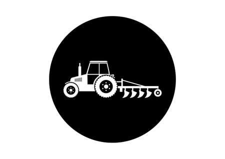 plow: Black and white tractor icon Illustration