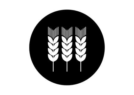 corn stalk: Black and white agricultural icon on white background Illustration