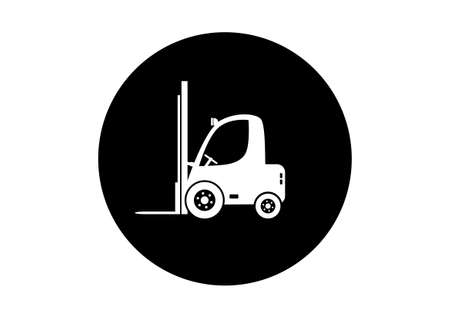 forklift truck: Black and white forklift truck on white background