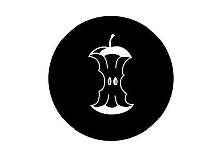 apple core: Black and white apple icon on white background