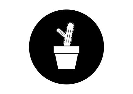 prickle: Black and white cactus icon on white background