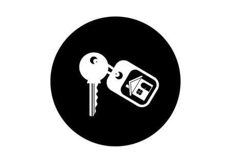 keyring: Black and white key icon on white background