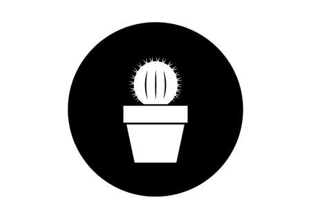 prickles: Black and white cactus icon on white background