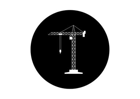 tower crane: Black and white tower crane icon on white background