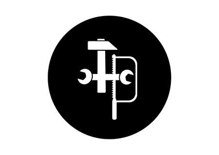 industrial icon: Black and white industrial icon on white background Illustration