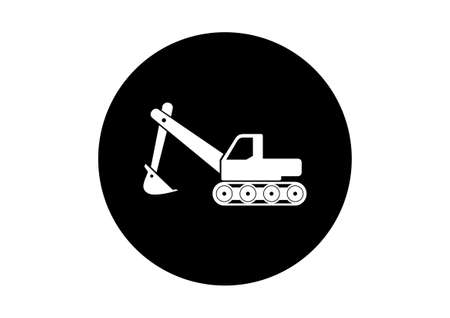 digger: Black and white excavator icon on white background