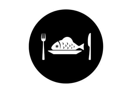 black fish: Black and white fish icon on white background