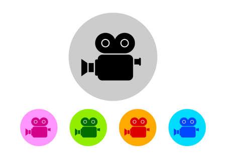 camara de cine: Coloridos iconos de la c�mara de cine Vectores